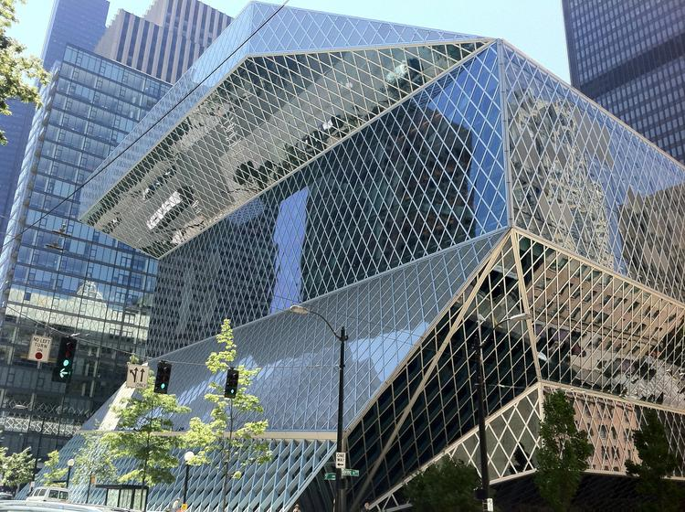 The striking Rem Koolhass-designed Seattle Public Library's central branch.