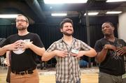 "Atlanta Opera Chorus Members (left to right) Stuart Schleuse, Brandon Odom, and ZacharyHeath will be ""oompa loompas."""