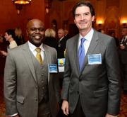 Moise Piram with MassMutual/The Piedmont Group of Atlanta, left; and Jim Viviano with Skanska USA Building.