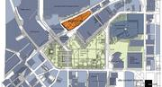 The orange box represents where the College Football Hall of Fame will be built.