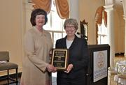 """On behalf of the Judicial Selection & Tenure Committee,  Chair Mary M. (""""Peggy"""") Brockington, Strickland Brockington Lewis LLP, accepts a 2012 Atlanta Bar Association Distinguished Service Award."""