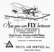 An early Delta ad for its first flights. The company launched its first airline service on June 17, 1929. The Delta museum is being renovated in honor of the 85th anniversary of that milestone.