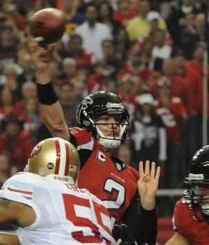 Atlanta Falcons quarterback Matt Ryan throws against the San Francisco 49ers in the NFC Championship Game, January 2013.