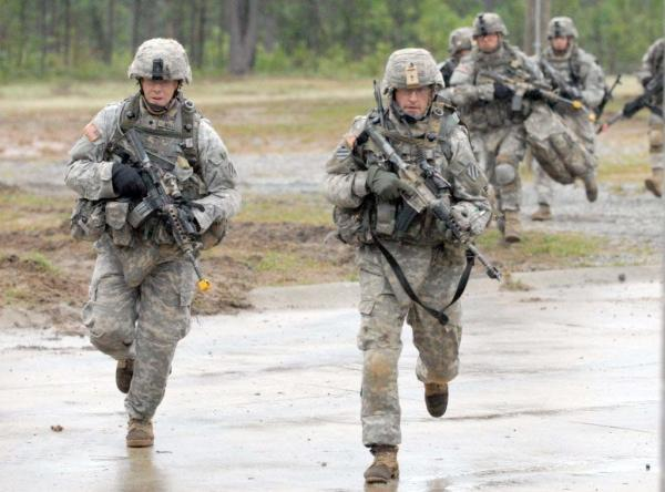 Soldiers exercise at Ft. Benning in July 2010.