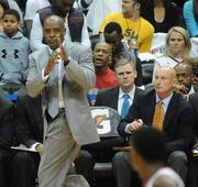 Hawks Head Coach Larry Drew calls a time out.