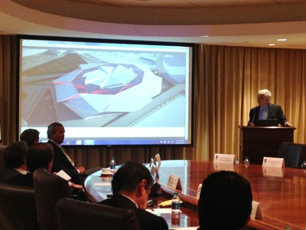 Bill Johnson, senior principal with 360 Architecture, presents more detailed conceptual designs for the new $1 billion Atlanta Falcons stadium to the stadium development committee of the GWCC Authority at a June 17 meeting