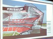 A cutaway view of the interior levels and suites of the new stadium design