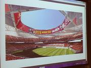 A rendering of what the stadium could look like if configured for a FIFA game