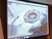 Birds-eye view showing the retractable roof of the proposed Atlanta Falcons' stadium design