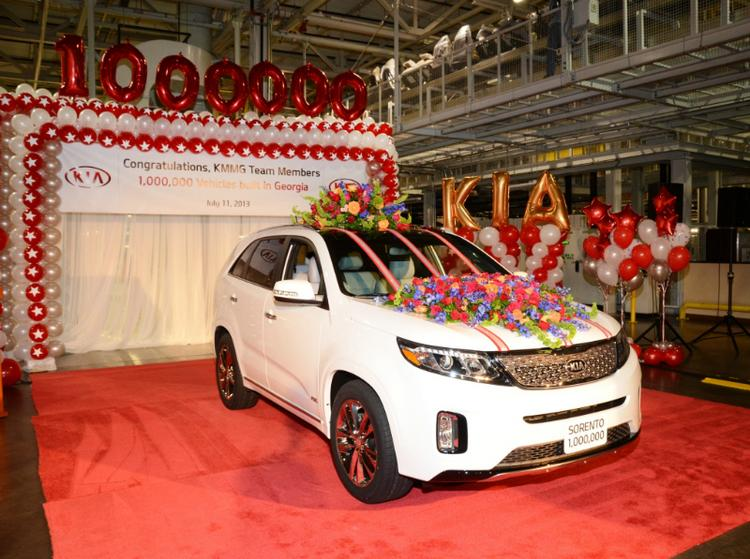 Kia's 1 millionth vehicle made in Georgia -- a snow white pearl 2014 Sorento SXL.
