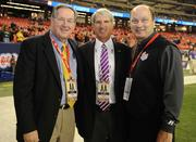 Mark Womack, executive associate commissioner of the SEC; Joe Alleva, LSU vice chancellor and athletic director; and Gary Stokan, president and CEO of the Chick-fil-A Bowl.