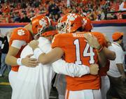 Pre-game talk for Clemson.