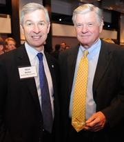 Mark Becker, president of GSU, and Pete McTier, retired president of the Robert W. Woodruff Foundation.