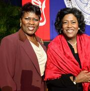 Leona Davenport, president of the Atlanta Business League, with Ingrid Saunders Jones, senior vice president of Global Community Connections for The Coca-Cola Co.