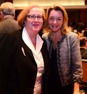 Virginia A. Hepner, president and CEO of the Woodruff Arts Center, with Ashley Preisinger, president of WNBA basketball team Atlanta Dream.