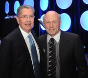 Bob Mathews, presenter and CEO of Colliers International Atlanta, and Dan Cathy, keynote speaker and president of Chick-fil-A Inc.