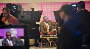 "Al Roker, center, appears on set during a taping of the ""Today"" show at 