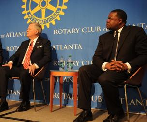 Georgia Gov. Nathan Deal, left, with Atlanta Mayor Kasim Reed at the Rotary Club of Atlanta.