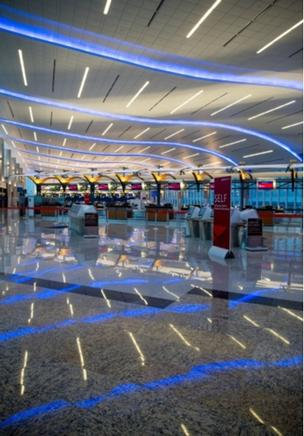 Lobby at Atlanta's Maynard H. Jackson Jr. International Terminal. Delta from Atlanta today operates more than 1,000 daily departures to 208 destinations, including nonstop service to 65 international destinations.