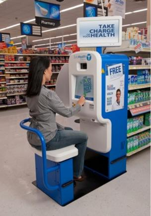 The free kiosk provides health screenings for vision, blood pressure, weight, and body mass index, a symptom checker as well as an overall health assessment.
