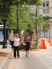 Jennifer Ball and Kristi Rooks of Central Atlanta Progress walking the western side of the streetcar route, an area that could house the densest development including new downtown towers.