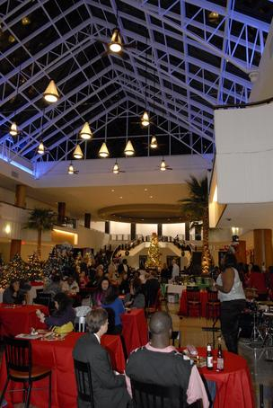 The crowd celebrated in Colony Square's food court atrium