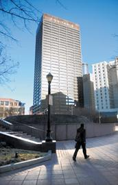 100 Peachtree: Koch Business Solutions looking to move to the downtown landmark.