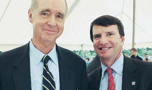 Ben Johnson, left, and Doug Hertz at the groundbreaking of a new Emory University research building in June 2011.