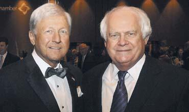 Jim Maran, left, with developer Wayne Mason at the Gwinnett Chamber of Commerce's 64th annual dinner on Feb. 3.