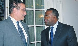 Washington: Mayor Vincent Gray with Atlanta Mayor Kasim Reed at the LINK dinner held at the National Society of the Daughters of the American Revolution.