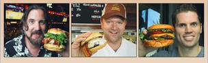 Burgermeisters: Michael Benoit of The Vortex, from left; chef Dan Latham of Farm Burger; and Brian Dralle of BGR are among Atlantans serving up high-quality beef on buns.
