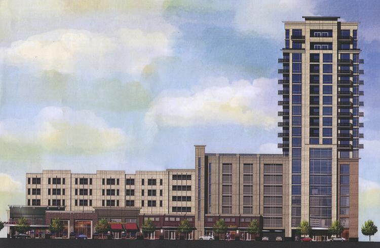 A rendering of Wood Partners' planned mixed-use project in Midtown. The development would include 350 residential units (including a 19-story tower) and 20,000 square feet of retail space.