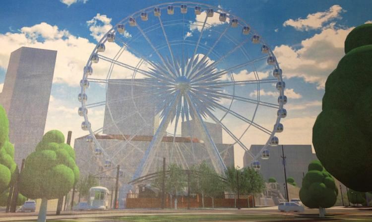 A rendering of the 20-story Ferris wheel coming to downtown Atlanta.