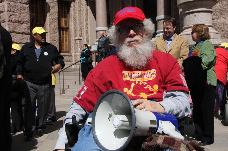 Bob Kafka was one of hundreds of Texans who marched up Congress Avenue in Austin Tuesday to push lawmakers to accept Medicaid funding. Click through the slideshow to see scenes from the march, which ended on the Capitol's south steps.