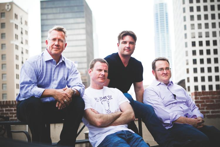 From left, Larry Warnock, CEO of Gazzang Inc., and Robert Reeves, Daniel Nelson and Pete Pickerill of Datical Inc. were part of the initial management team at Phurnace Software Inc., which was acquired by BMC Software Inc.