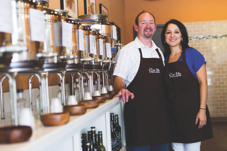Jeff and Tabatha Conarko, owners of Con' Olio LLC, opened their first olive oil and vinegar store in the Arboretum area and recently opened a new one in downtown Austin.