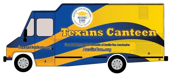 Austin Can Academy's blue and yellow food truck Texans Canteen, parked on the corner of Brazos and 15th streets.