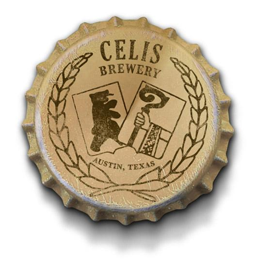 The first bottle cap designed for Celis brewery in 1992. The Ampersand Agency will unveil a new logo and bottle packaging design over the next two months.