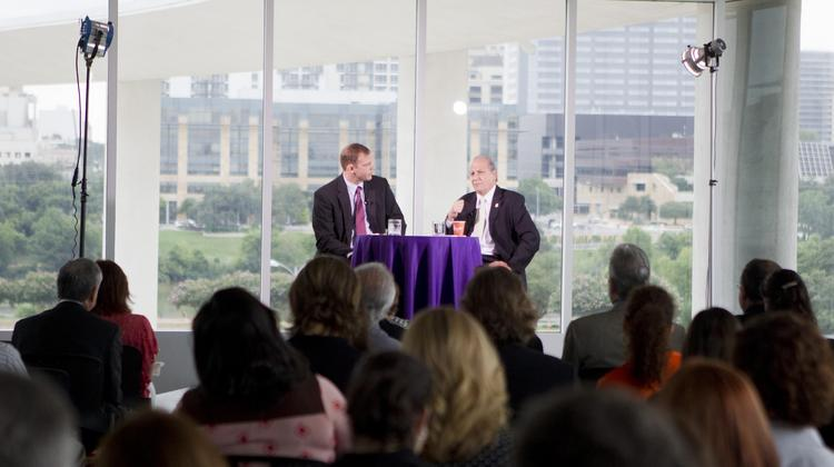 Earth University President Jose Zaglul (right) sat down with Austin Business Journal Editor Colin Pope during the most recent Face 2 Face event. The monthly event series will be televised later this year.