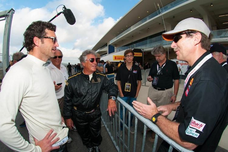 Actor, driver and racing team owner Patrick Dempsey, left, and COTA ambassador Mario Andretti discuss their on-track experiences with fans.