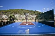 The home up for sale has a sport court with a University of Texas at Austin longhorn logo.