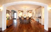 The mansion, which overlooks Lake Travis and the Hill Country, features a large kitchen area.