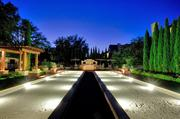 The bocce ball courts are equipped with lighting for night time play.
