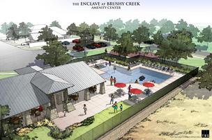A rendering of the proposed amenity and pool area at The Reserve at Brushy Creek in Cedar Park.