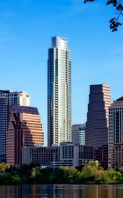 Austin's skyline is dominated by the 56-story Austonian condominium project, which includes 195 residential units, 431 parking spaces and 11,100 square feet of retail space. Located at 200 Congress Ave., the tower includes a 10th floor rooftop garden and other amenities such as a party room, wine vault, fitness center, dog park, bicycle storage, restaurants, coffee shop and wine shop. The development entities are  Benchmark LLC and Second Congress Ltd.