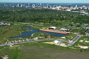 The Mueller neighborhood a couple of miles north of downtown is being built over Austin's old airport.