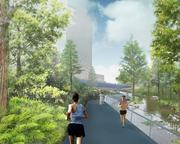 A consortium of design firms based in New York, Phoenix and Austin conceive of pedestrian paths that are lined with both office buildings and dense foliage.