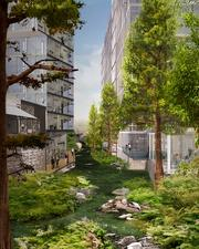 High-rise developments with intense greenery would create an urban canyon effect, according to a concept put forward by Workshop: Ken Smith Architect, Ten Eyck Landscape Architects and Rogers Marvel Architects.