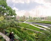 Verdent open spaces at Waterloo Park would draw both intimate and larger crowds to the Waller Creek area in this concept submitted by Workshop: Ken Smith Landscape Architect, Ten Eyck Architects and Rogers Marvel Architects.