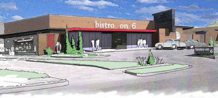 A rendering of the two East Austin properties that shows a proposed restaurant, office space and coffee shop.